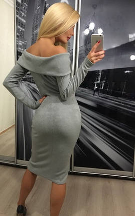 Стильное женское платье миди из ангоры с отворотом /серое, 42-46, ft-304/, фото 2