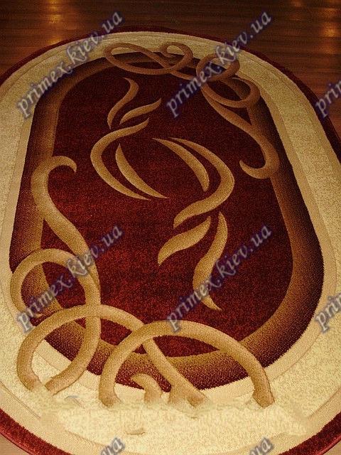 """Рельефный овальный ковер Кадиллак """"Марзия"""", цвет красный"""