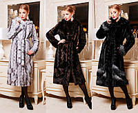 Искусственная шуба-пальто с отделкой №332 (р.42-52)