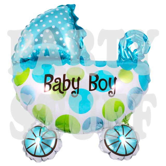 надувной фольгированный шарик коляска голубая