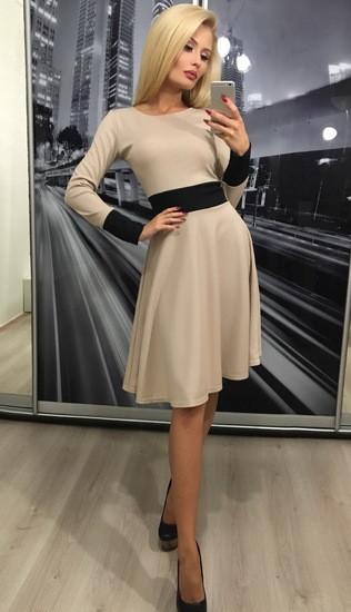 Стильное женское платье в ретро стиле ft-305 бежевое