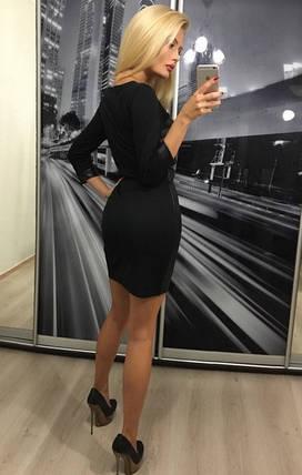 Стильное женское платье из экокожи и трикотажа ft-306 черное, фото 2