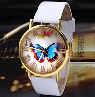 Часы женские наручные с бабочкой белые