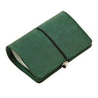 Кард-кейс кожаный зеленого цвета 7.0 Изумруд