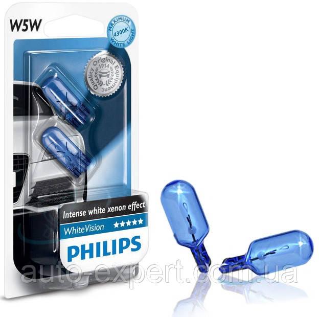 """Автомобильные лампы """"PHILIPS"""" W5W (White Vision)(4300K)"""