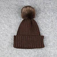 Детская шапка Коричневая с Пумпоном