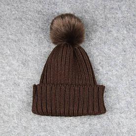 Дитяча шапка, Коричнева з Пумпоном