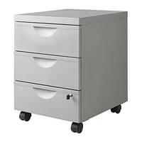 """IKEA """"ЭРИК"""" Тумба на колесиках с 3 ящиками, серебристый"""
