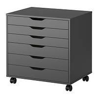 """IKEA """"АЛЕКС"""" Тумба с ящиками на колесиках, черный"""