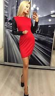 Стильное женское короткое платье с длинными рукавами из эко-кожи ft-299 красное