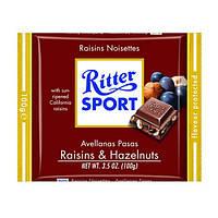 Молочный шоколад Ritter Sport Trauben Nuss-с изюмом и лесными орехами