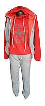 Женский теплый спортивный костюм 3 в 1 на флисе и с жилеткой на меху