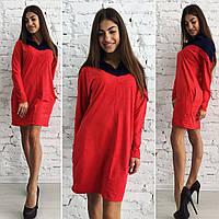 """Модное замшевое платье"""" Дюшес"""", красный низ, синий верх . Арт-8731/74"""