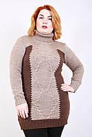 Свитер вязанный Интарсия (3 цвета), женский свитер для полных, туника вязаная, дропшиппинг украина, фото 1