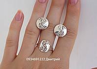 Набор серебряный круглый узорный без камней, фото 1