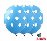 """Латексные воздушные шарики горох на голубом 12"""" (30 см)  ТМ Show"""