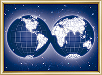 Набор картина стразами  Карта мира