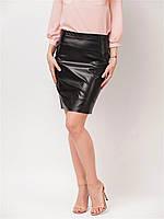 Юбка кожаная Юбка 60223, юбка эко-кожа, юбка кожаная, черная юбка прямая, дропшиппинг