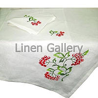 """Комплект столовий колекція """"Калина""""  білий 140*200 см.+ 6 серветок"""