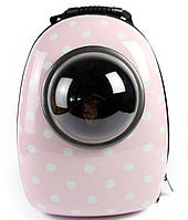 Рюкзак для котов и собак некрупных пород CosmoPet Розовый горошек (Сумка переноска), фото 1