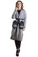 Пальто женское серое шерстяное с меховыми карманами с поясом