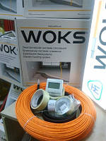 Теплый пол 6 м.кв Woks 600вт тонкий нагревательный кабель 64м
