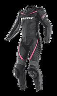 Мотокомбинезон женский цельный Dainese Racing кожа черный антрацит розовый 40