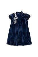 Детское нарядное платье для девочки бархат 128, синий