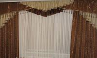Ламбрекен со шторами для гостиной из плотной ткани на карниз  3 м .(Ламбрекен ручной складки)