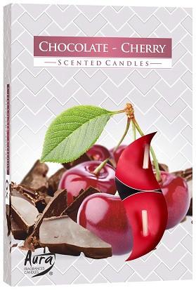 Свеча чайная ароматизированная Bispol Шоколад-вишня 1.5 см 6 шт (p15-104)