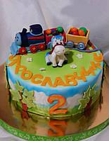 Торт детский   Паровозик Томас для мальчиков и девочек  с персонажами из мультфильмов на заказ Харьков
