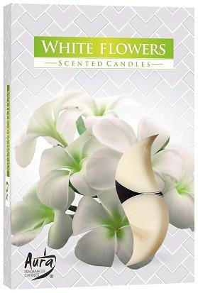Свічка чайна ароматизована Bispol Білі квіти 1.5 см 6 шт (p15-179)