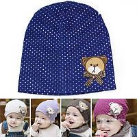 Детская шапка Мишка темно синяя