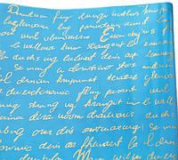 """Пленка тонированная """"Письмо"""" золотое на голубом 60 см 200 гр"""