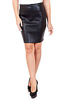 Юбка прямая кожаная средняя длина, кожаная юбка, черная юбка из эко-кожи, юбка прямая черная, дропшиппинг