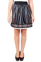 Юбка Солнце кружево черное, кожаная юбка, юбка с кружевом, юбки оптом, дропшиппинг украина