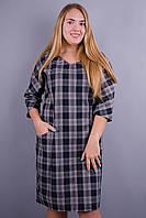 Виктория клетка. Модное платье. Серый клетка., фото 1