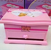 "Музыкальная шкатулка мишка""Teddy"" розовая с фоторамкой 2 этажа"