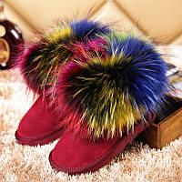 Угги женские с разноцветным мехом. Опушка - густой натуральный мех енота. Размер 36-40. АБ 71013