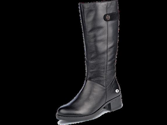 Сапоги еврозима  женские МИДА 24597 черные, кожаные на маленьком каблуке., фото 2