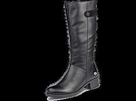 Сапоги еврозима  женские кожаные МИДА 24597 черные на маленьком каблуке.