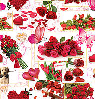 """Подарочная бумага для упаковки подарков """" Цветы """" , размер 707х1000 мм"""