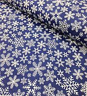 Новогодняя ткань польская снежинки на синем