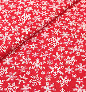 Новогодняя ткань польская снежинки на красном