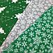 Новогодняя ткань польская снежинки на зеленом №330, фото 2