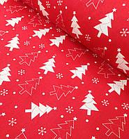 Новогодняя ткань польская елочки на красном