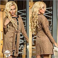 Платье с вставками эко-кожи с поясом