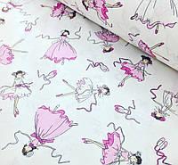 Хлопковая ткань польская балерины на белом