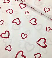 Хлопковая ткань польская сердца (валентинки) красные на белом