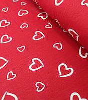 Хлопковая ткань польская сердца (валентинки) белые на красном